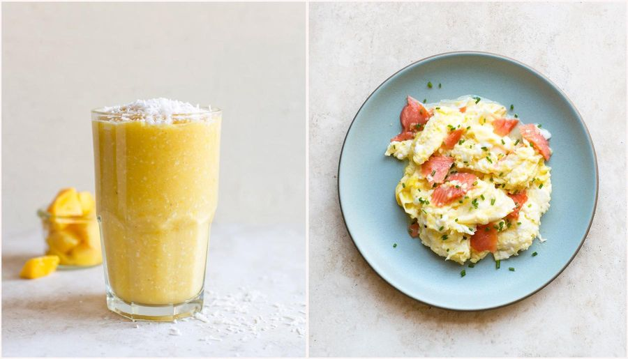 Two breakfasts: Banana-coconut smoothie & Egg Scramble with smoked salmon