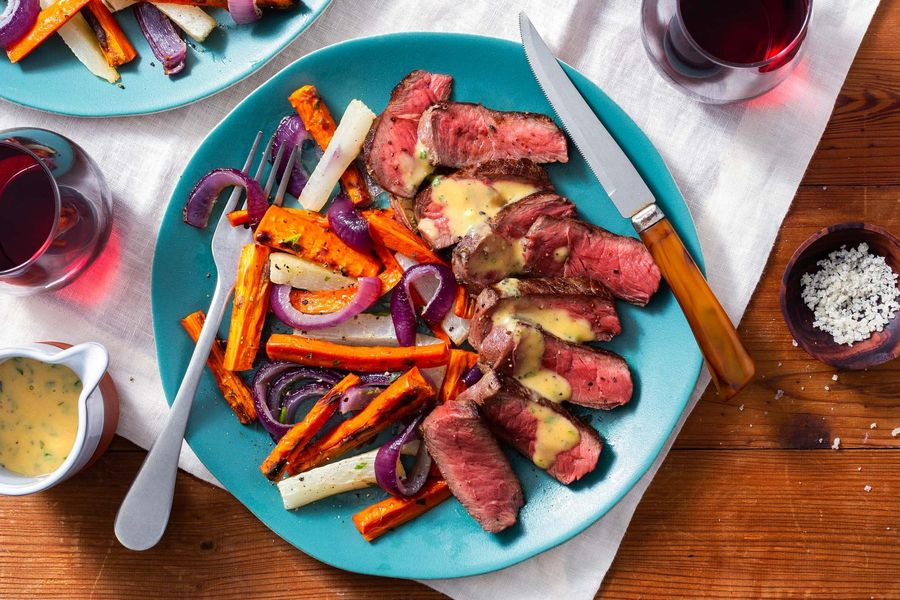 Filet mignons with tarragon béarnaise and roasted root vegetables