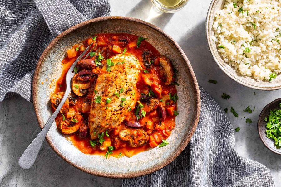 Chicken cacciatore with cauliflower mash