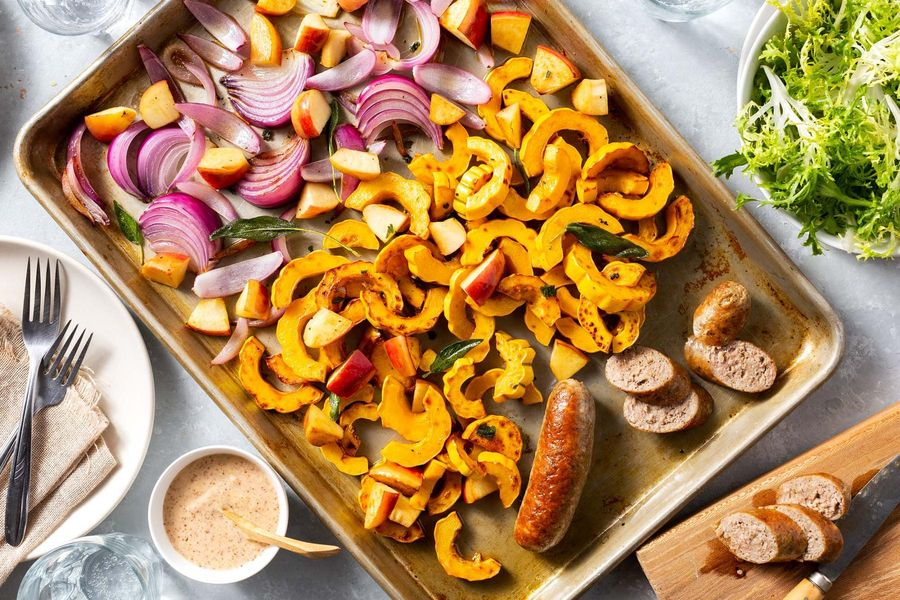 Sheet pan pork sausages with roasted apple and delicata squash