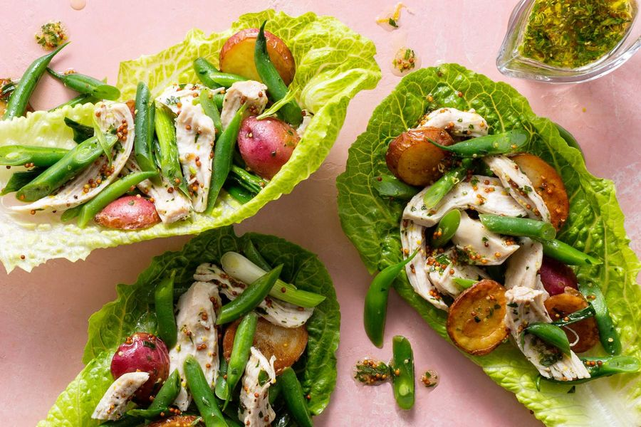 Chicken and new potato lettuce cups with tarragon-mustard dressing
