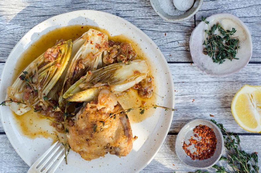 Roasted chicken with braised endive and pancetta
