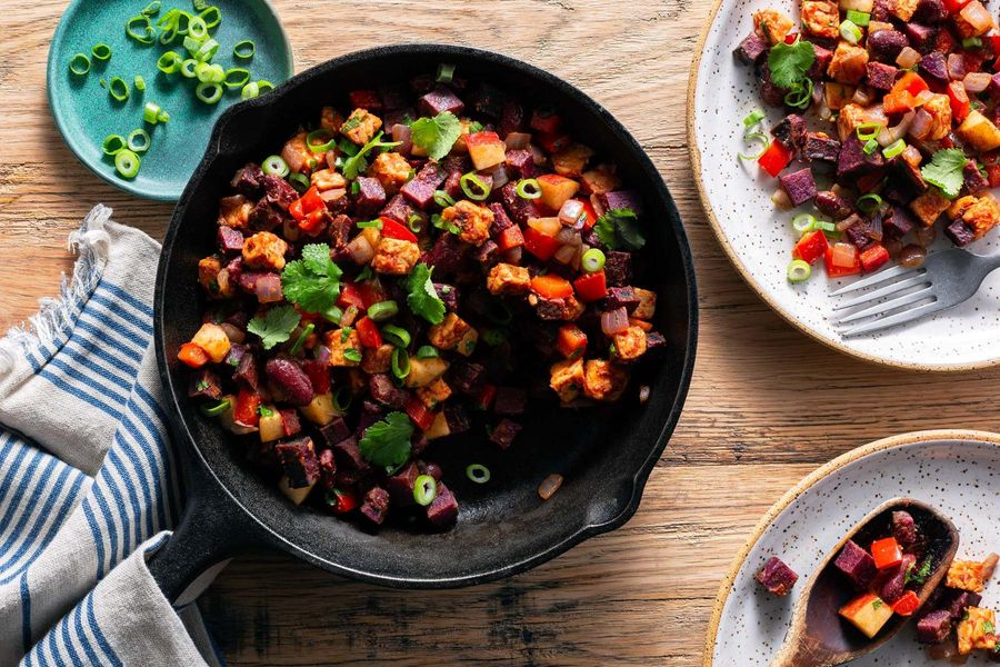 Spicy chipotle red bean and sweet potato hash with tempeh