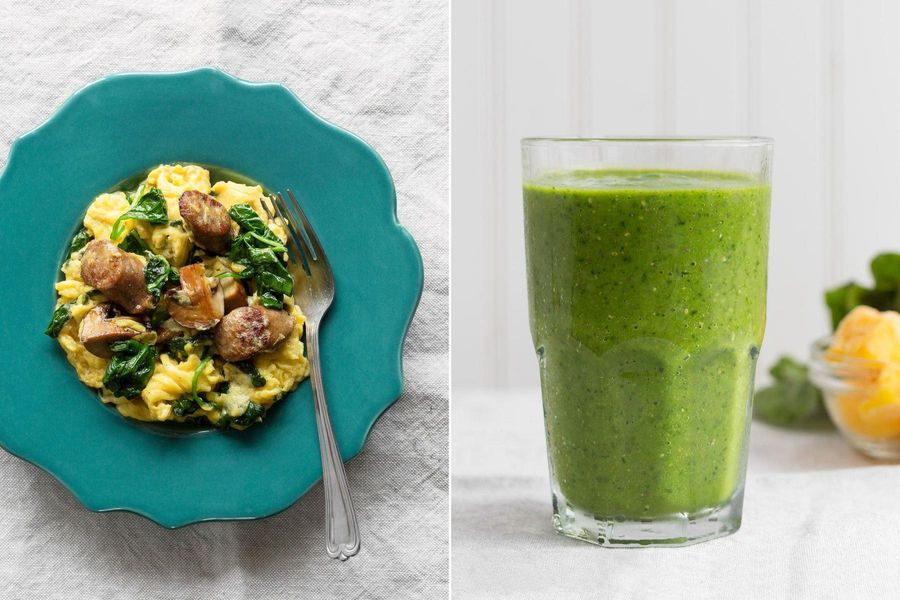 Two Breakfasts: Sausage-mushroom scramble with spinach & Kale-mango smoothie
