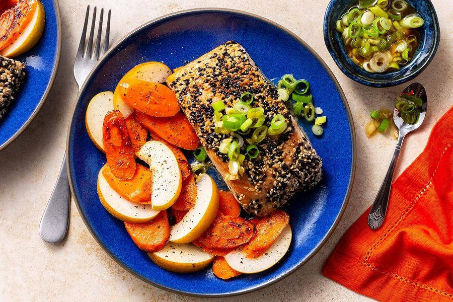Sesame-crusted salmon with scallions and warm carrot salad