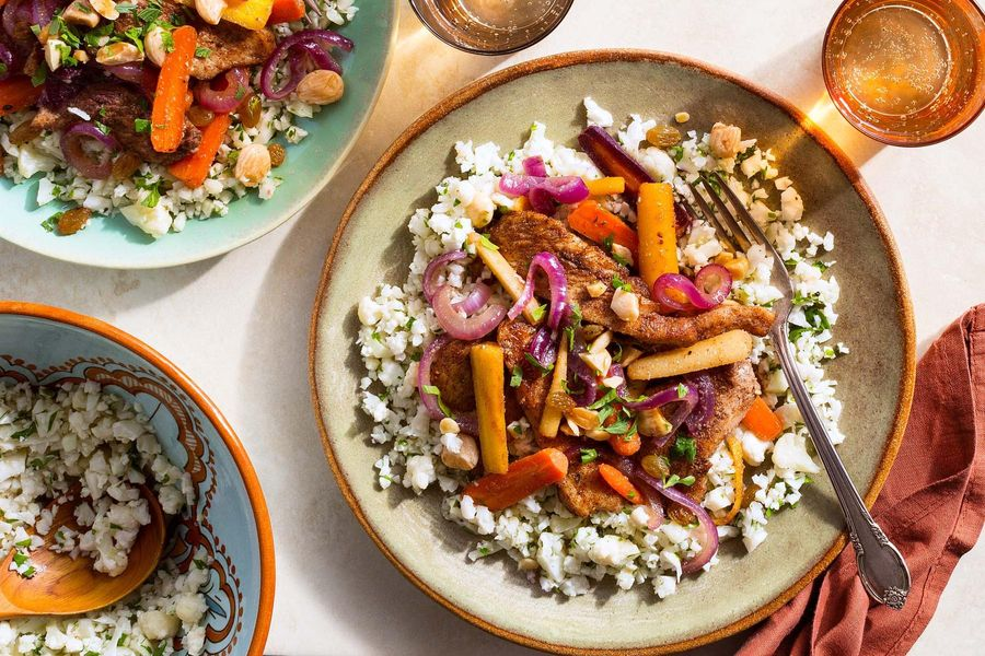 "Moroccan chicken with cauliflower ""rice"" and warm carrot salad"