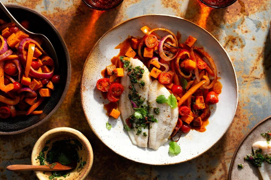 Peruvian-style sole with lime and sweet potato