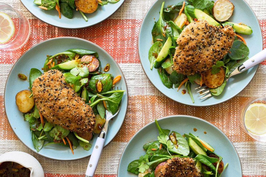 Sesame-crusted chicken with roasted new potato salad