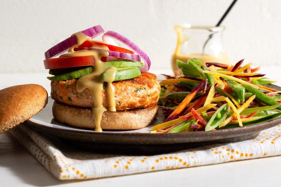 Salmon burgers with honey-mustard mayo and snap pea salad