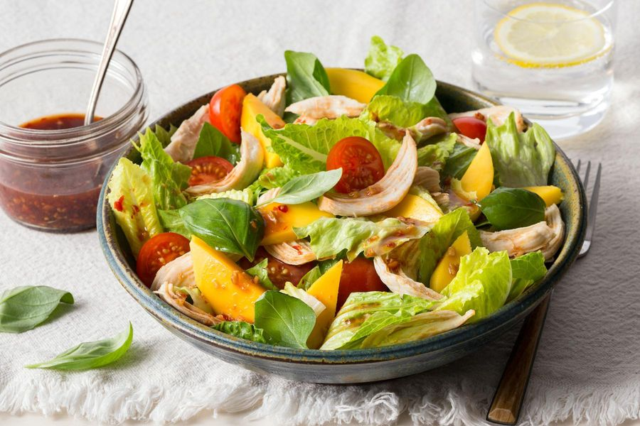Mango chicken salad with Asian ginger dressing