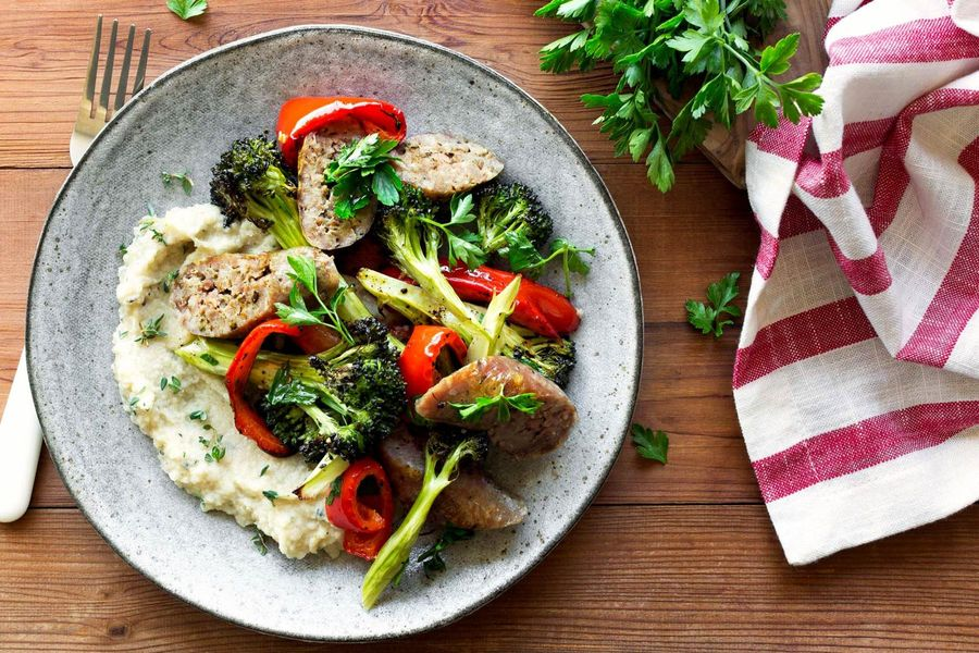 Roasted Italian sausages, bell pepper, and broccoli with celery root mash