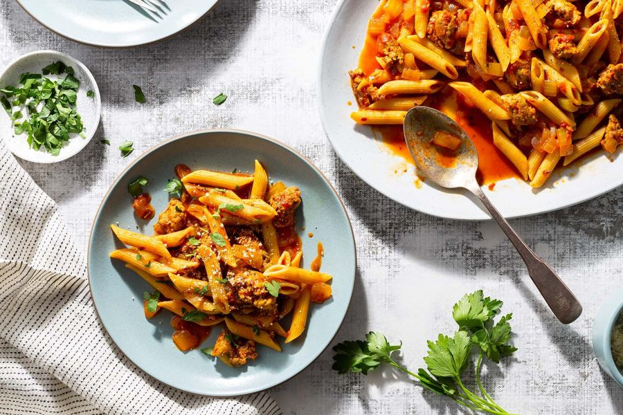 Fresh penne with Sardinian sausage sauce