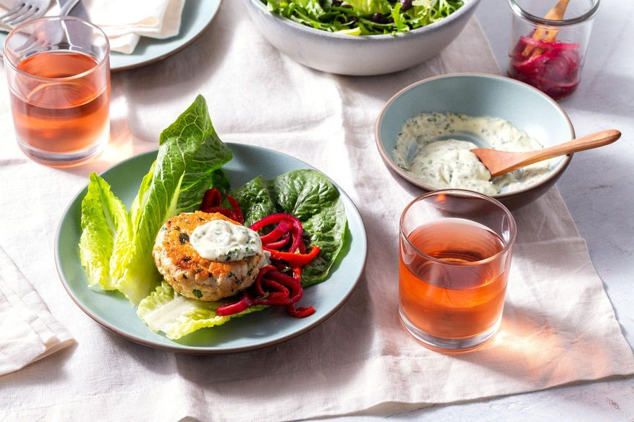 Lettuce-wrapped turkey sliders with lemon aioli and chicory salad
