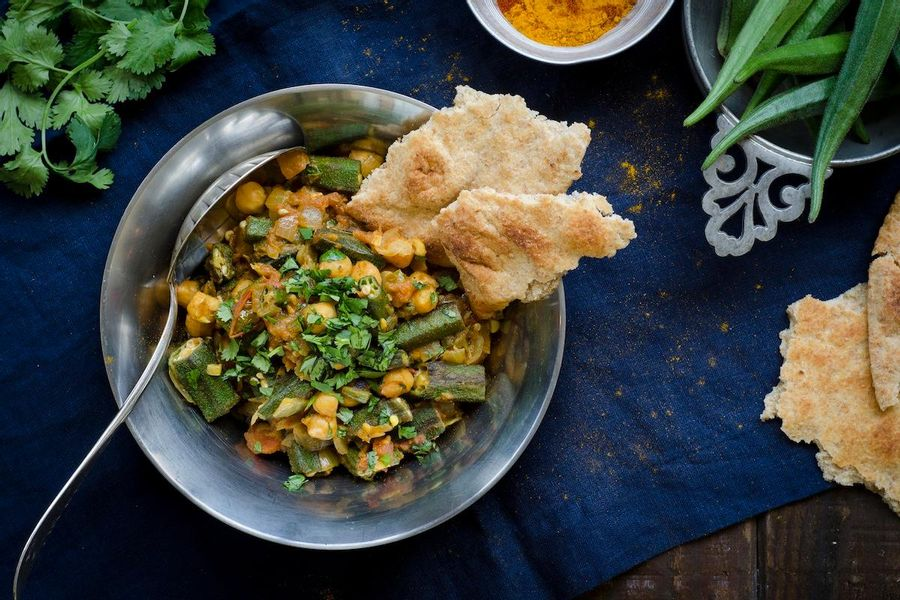Okra, chickpea and tomato curry with naan