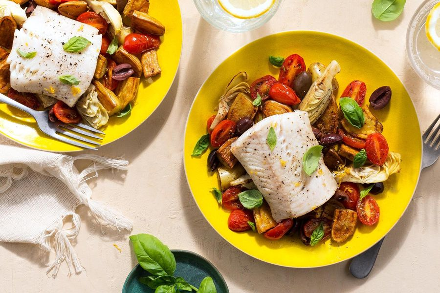 Mediterranean-style cod with artichoke hearts and Kalamata olives