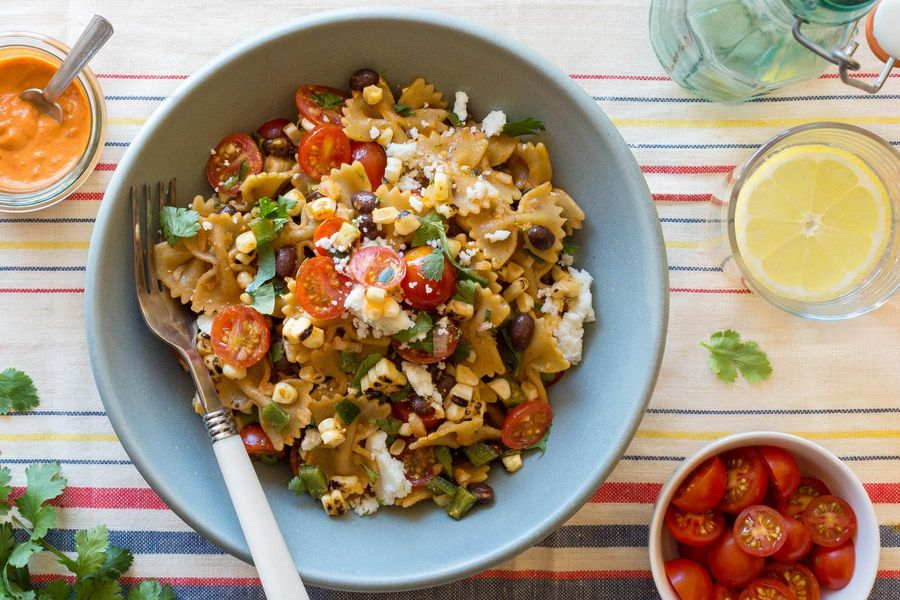 Bowtie pasta salad with black beans, corn, and red pepper vinaigrette