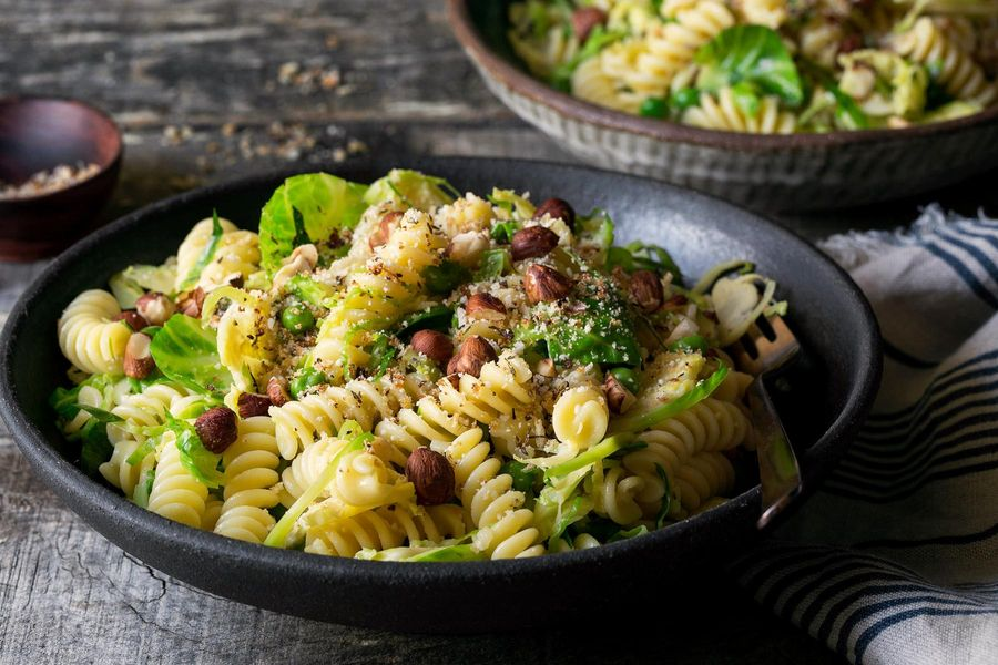 Brussels sprout carbonara with fresh fusilli and hazelnuts