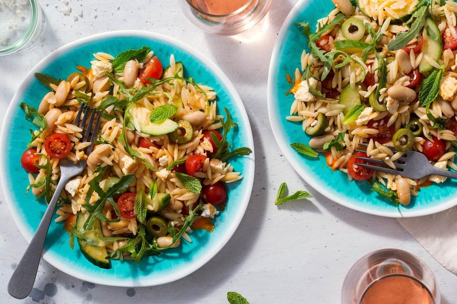 Greek orzo salad with white beans, tomatoes, and feta