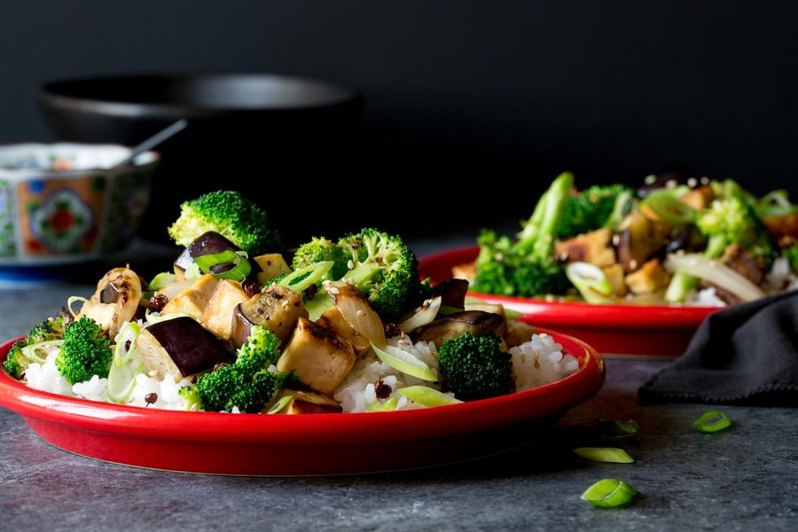Sichuan tofu and eggplant stir-fry with broccoli and jasmine rice