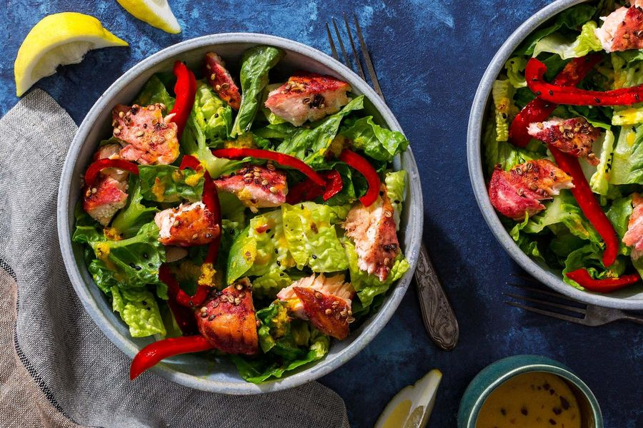Burmese salmon salad with lemongrass and bell pepper