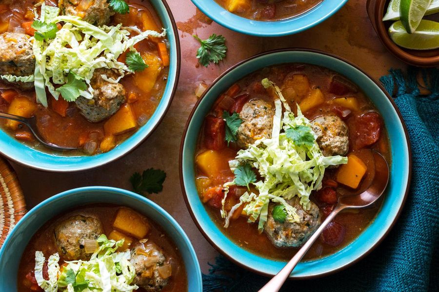 Mexican albóndigas soup with butternut squash and cilantro