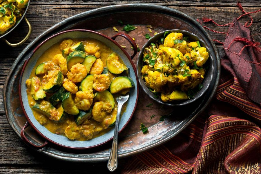 Masala shrimp with turmeric-roasted cauliflower