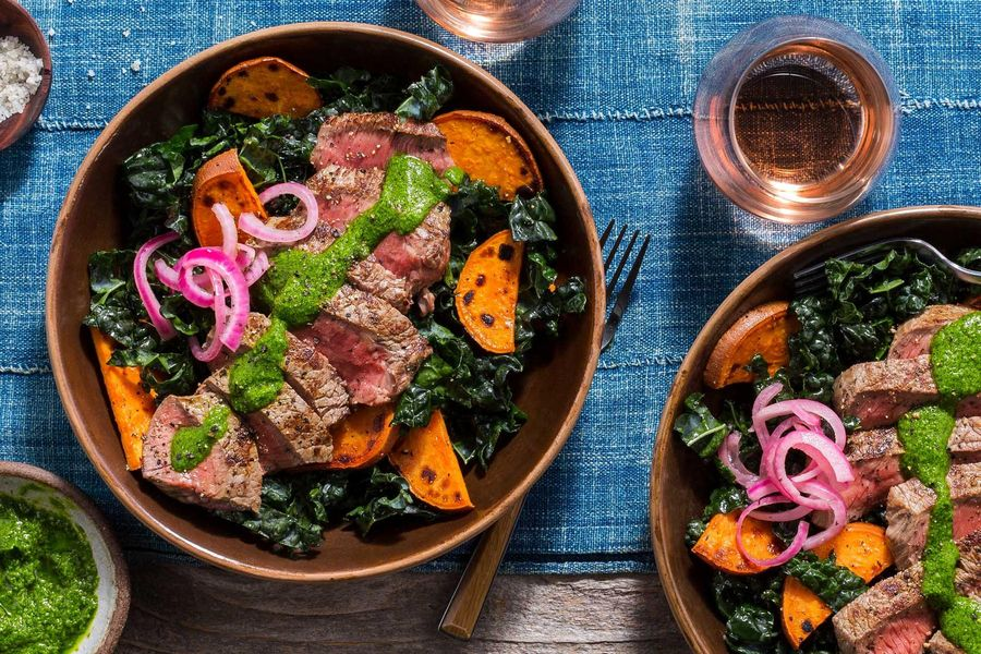 Simple steak salad with sweet potato and green chermoula