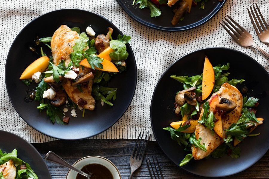 Chicken paillards with warm nectarine-arugula salad and ricotta salata