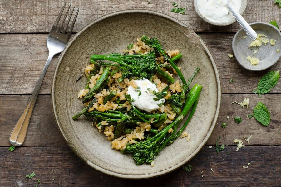 Asparagus and broccolini wild rice with lemon yogurt