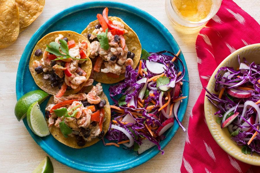 Cuban shrimp mojo tostadas with red cabbage slaw