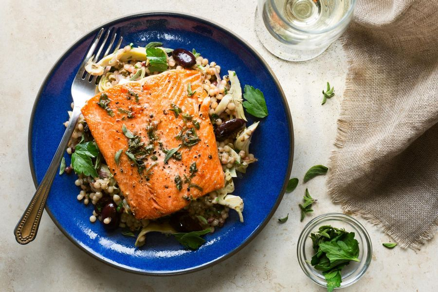 Pan-roasted salmon with artichoke pilaf