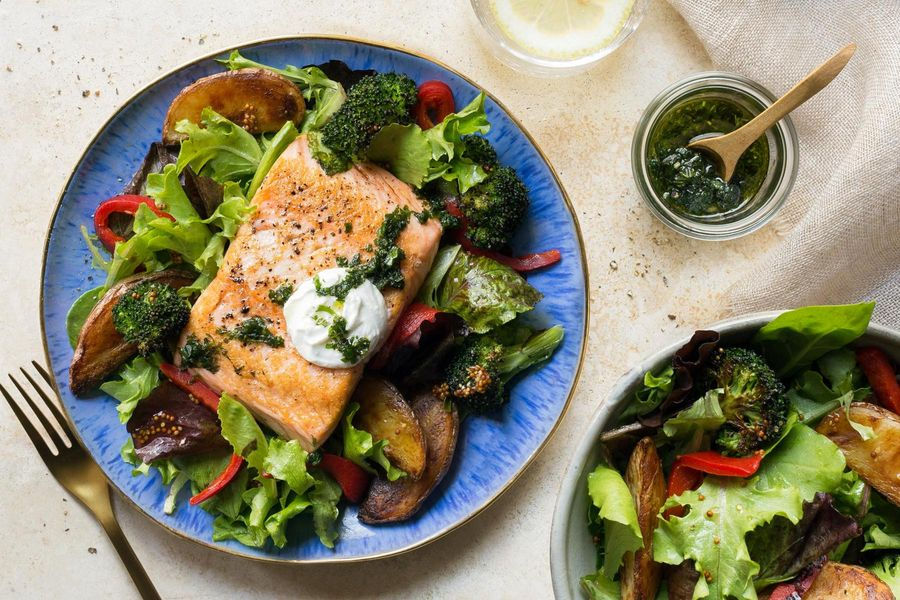 Salmon with roasted new potatoes and charred broccoli image