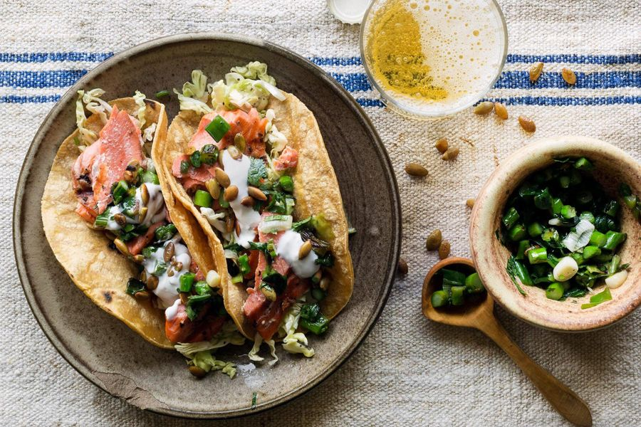 Seared salmon tacos with asparagus-scallion salsa and lime yogurt