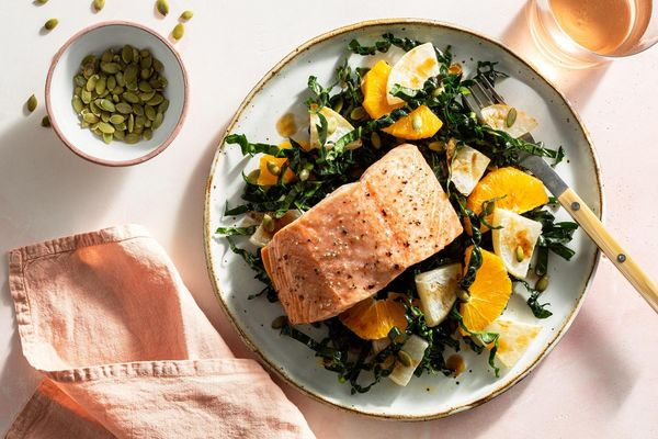 Roasted salmon with turnip, kale, and orange salad