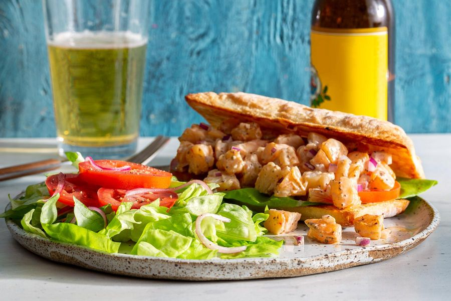 Shrimp Louie sandwiches with butter lettuce salad