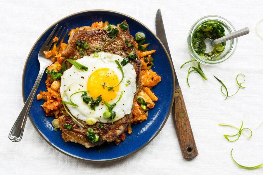"Steak and eggs with tomato-cauliflower ""rice"""