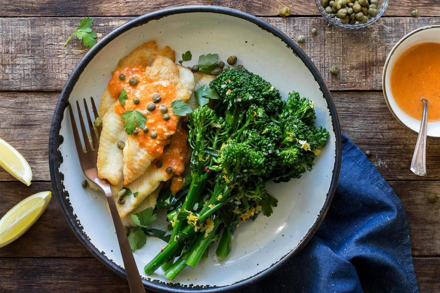 Sole with red pepper vinaigrette and lemon-garlic broccoli