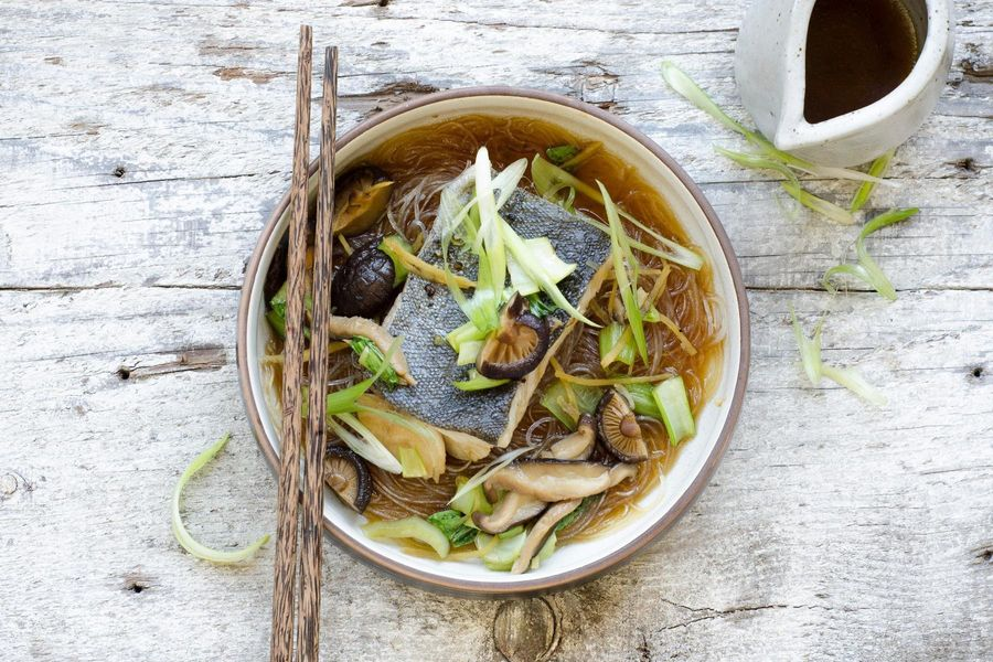 Braised fish, bok choy and glass noodles in shiitake broth