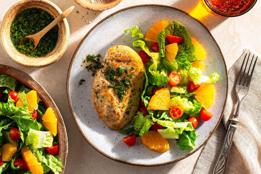Chicken and zhug with citrus-romaine salad