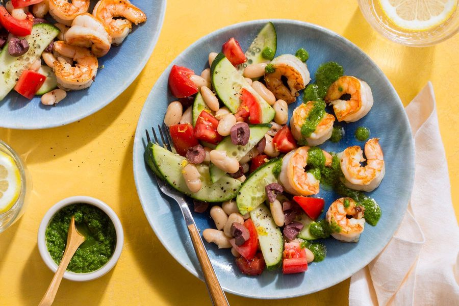 Moroccan-style shrimp with chermoula and white bean salad