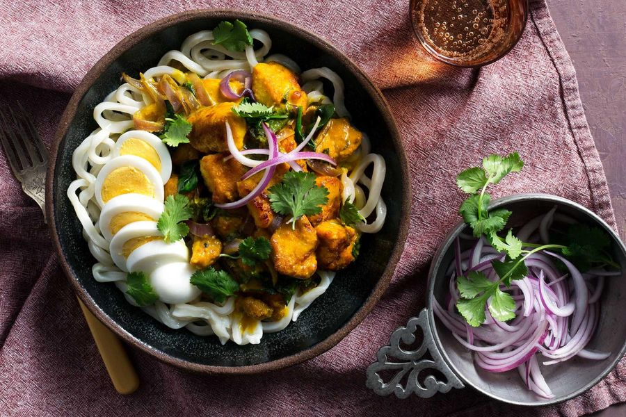 Burmese coconut curry with chicken and udon noodles