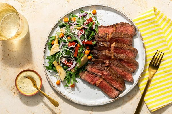 Black Angus steaks with chickpea, artichoke, and roasted red pepper salad