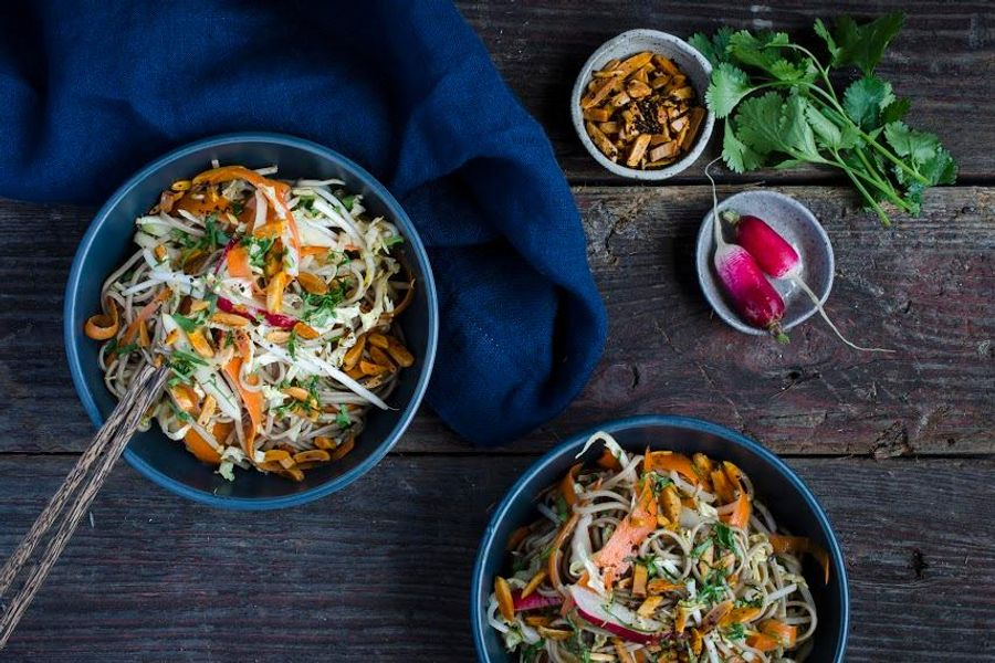Soba noodle salad with bean sprouts, cabbage and carrots