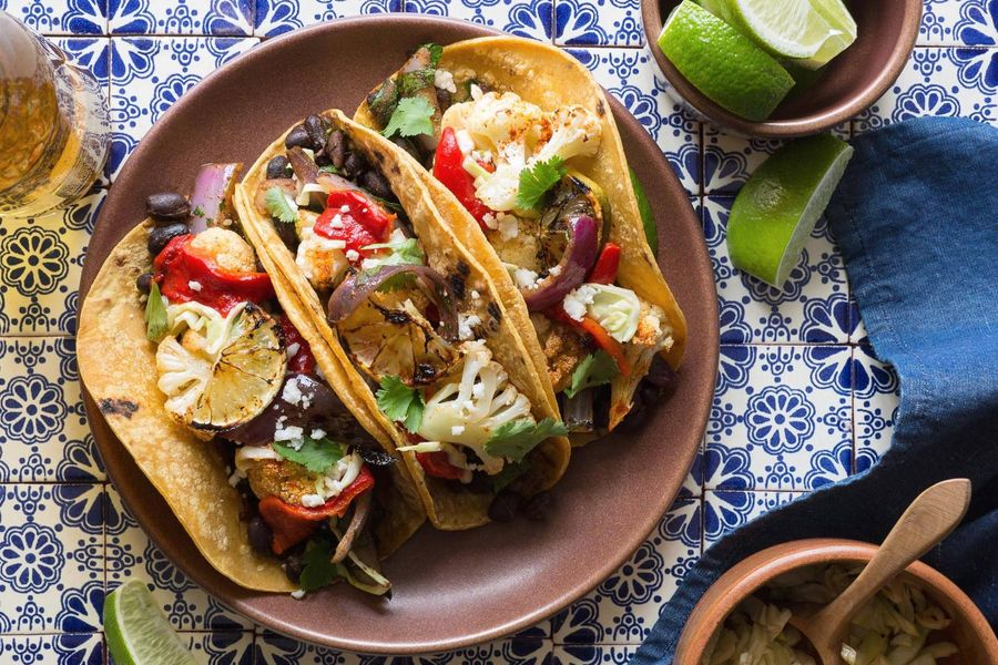 Black bean tacos with pickled cabbage and lime-roasted cauliflower