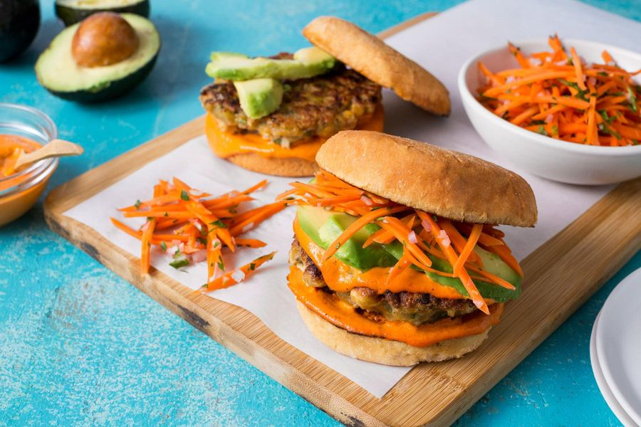 Chickpea–green chile burgers with avocado and pickled carrots