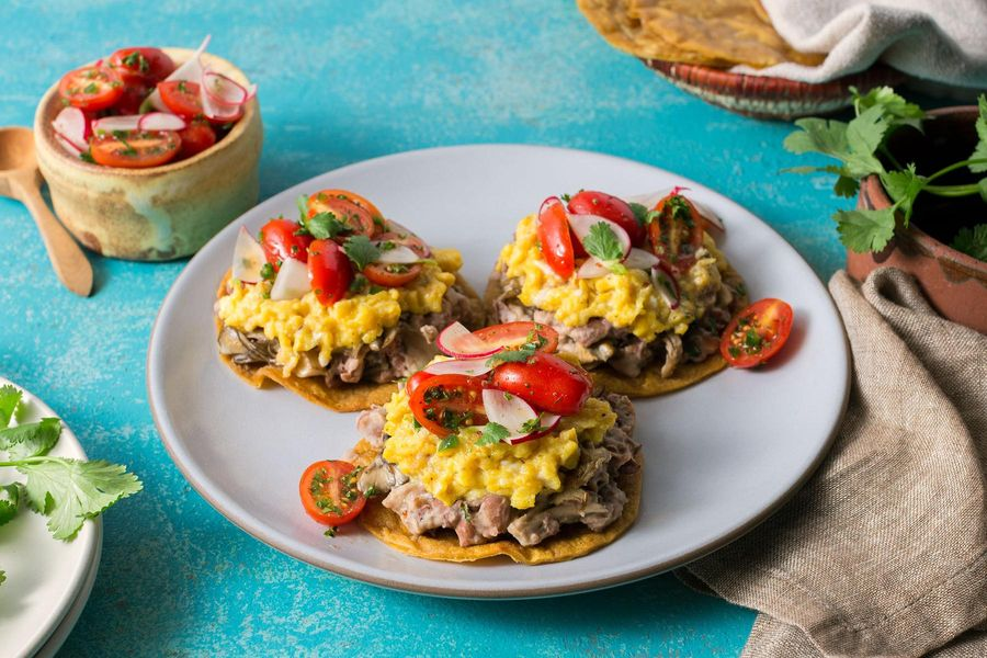 Mushroom-bean tostadas with scrambled eggs and Puerto Rican salsa