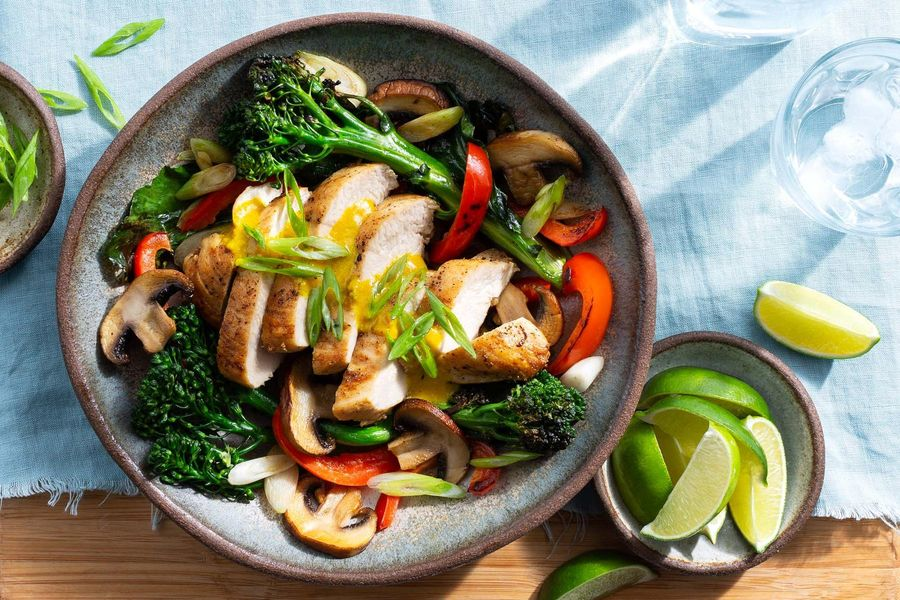 Thai-style chicken with coconut curry sauce and mixed vegetables