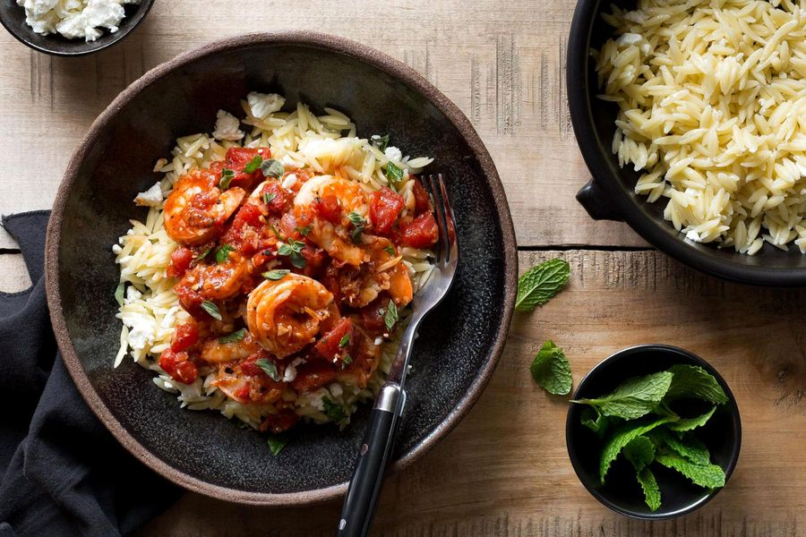 Greek shrimp with tomatoes, feta, and orzo