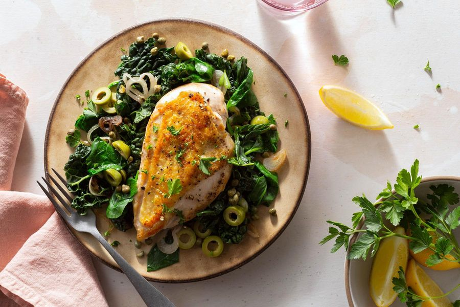 Sicilian chicken and kale with green olives, capers, and lemon