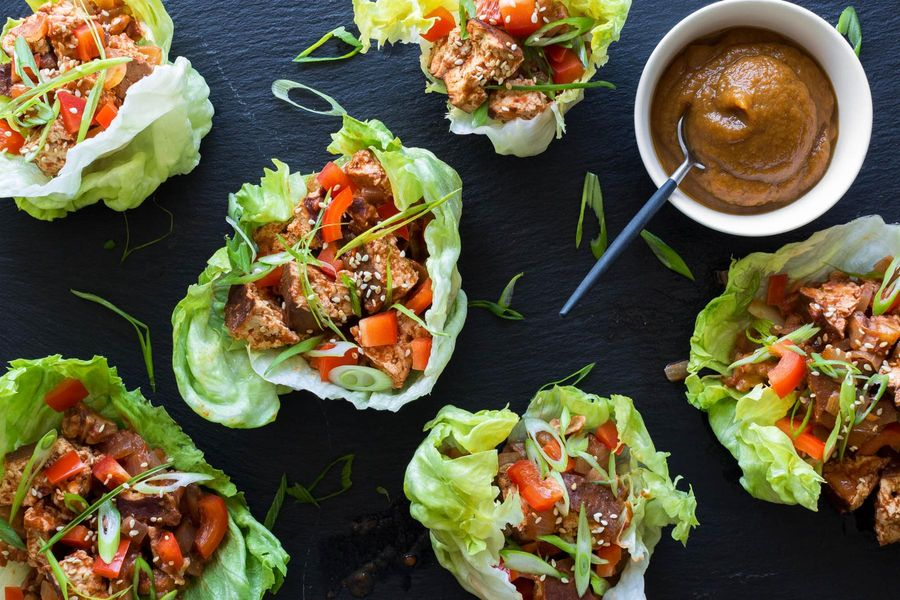 Five-spiced tofu and walnut lettuce cups with hoisin